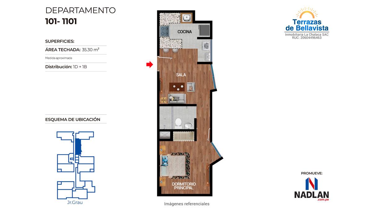 FLAT DE 1 DORMITORIO / DPTO. 1101
