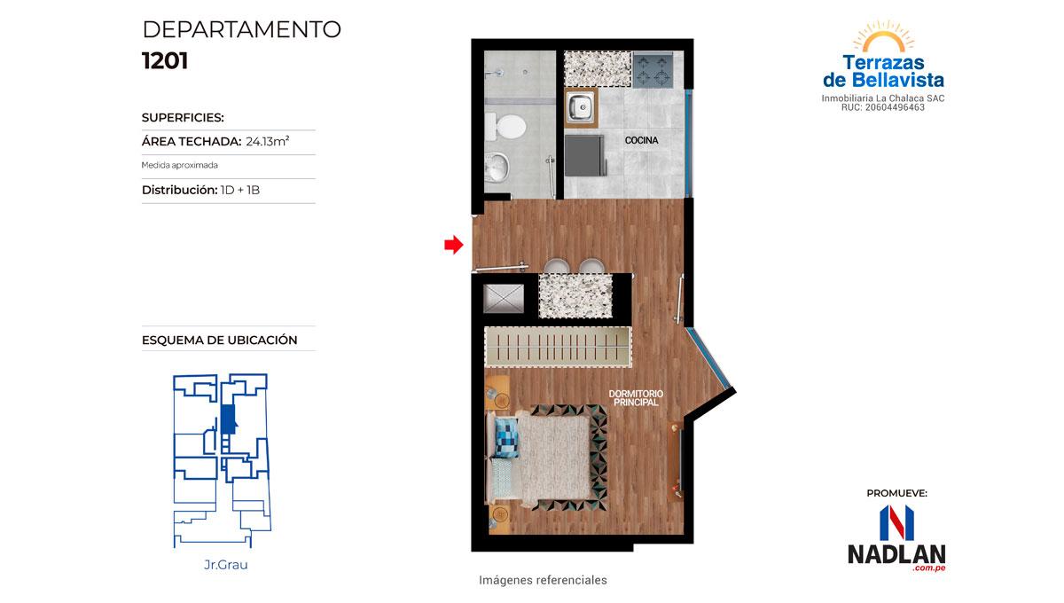 FLAT DE 1 DORMITORIO / DPTO. 1201